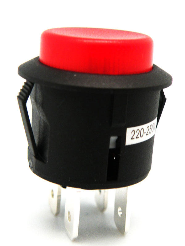 Interruptor pulsador 250V 6A Ø20mm luminoso rojo