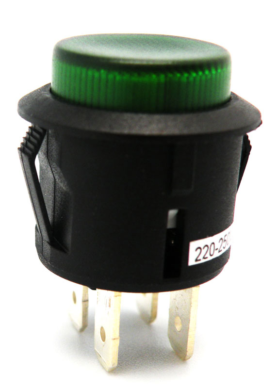 Interruptor pulsador 250V 6A Ø20mm luminoso verde