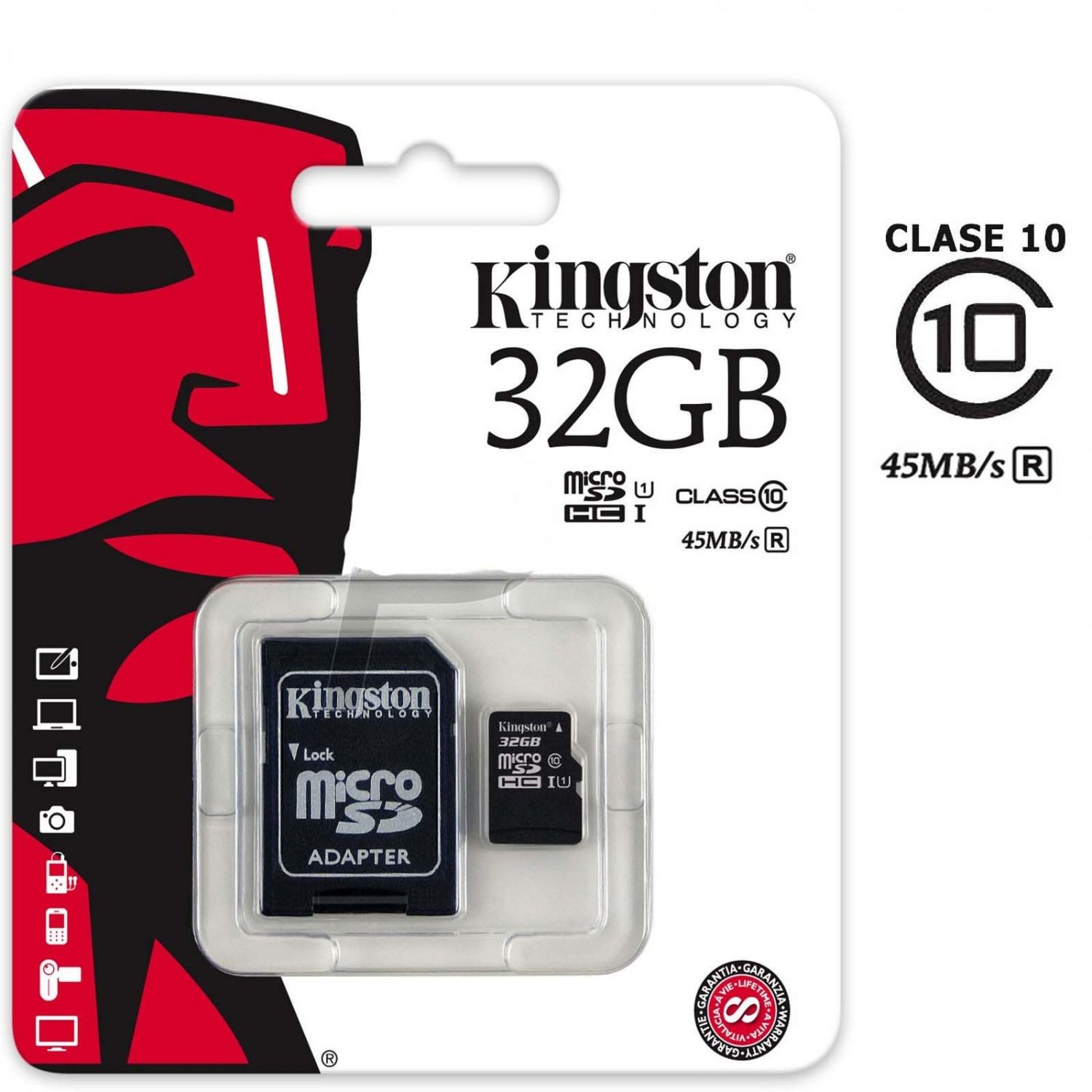 Memoria MICRO SD 32GB KINGSTON Clas.10 + Adaptador