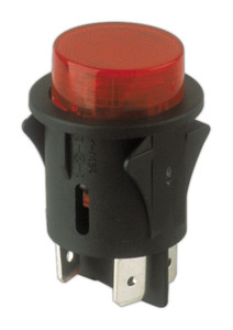 Interruptor pulsador 250V 10A Ø28mm luminoso rojo