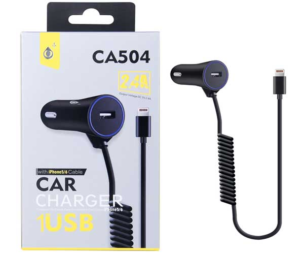 Alimentador 5Vcc 2,4A COCHE + Cable IPHONE 5/6 CA504