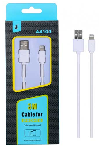 Cable USB A - Lightning IPHONE 5/6 M-M, 3 m