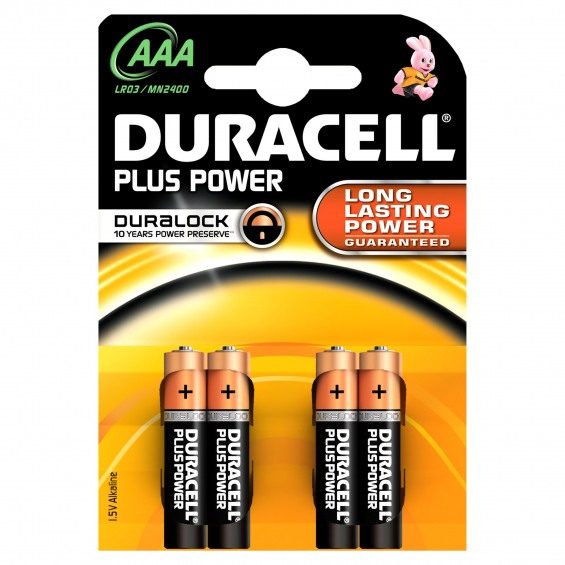 Pila 1´5V alcalina (AAA-R3) DURACELL blister 4uds